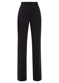 Prada Flared satin-back crépe trousers