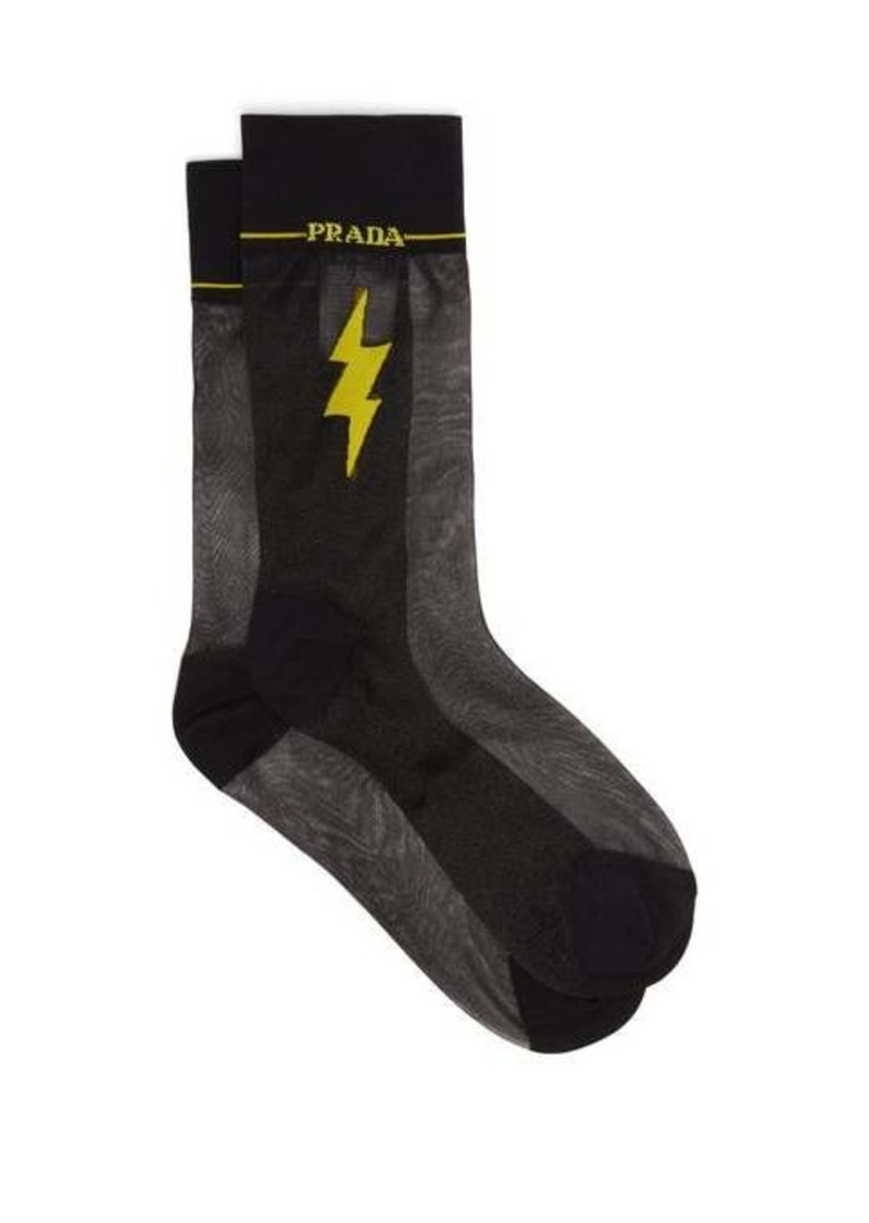 Prada Flash intarsia-motif sheer socks