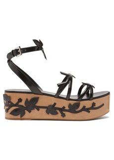 Prada Flatform floral-appliquéd leather sandals