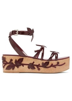 Prada Floral-appliqué flatform leather sandals