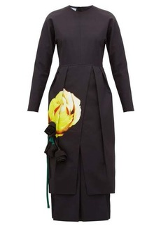 Prada Floral-appliqué pleated cotton midi dress