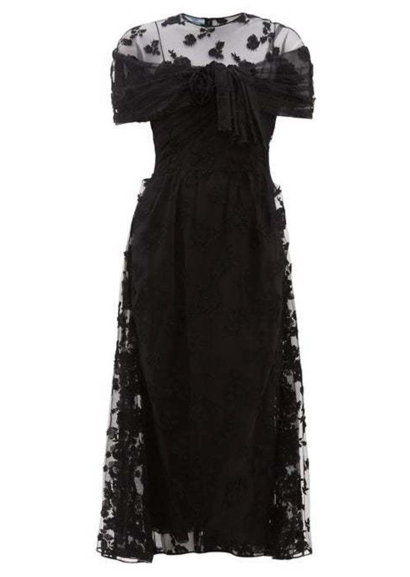 Prada Floral-appliqué ruched-mesh dress