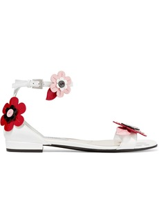 Prada Floral-appliquéd Patent-leather Sandals