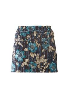 Prada Floral-brocade belted skirt