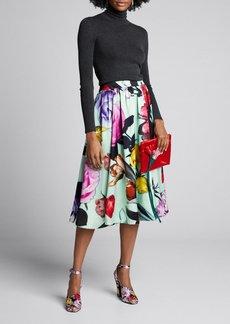 Prada Floral Duchess-Satin Full Midi Skirt