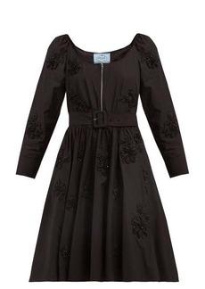 Prada Floral-embellished scoop-neck cotton-poplin dress
