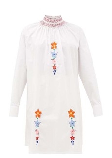 Prada Floral-embroidered cotton-poplin tunic blouse