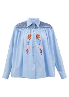 Prada Floral-embroidered smocked cotton blouse