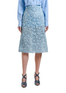 Prada Floral Guipure Lace A-Line Skirt