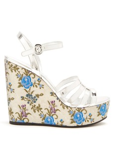 Prada Floral-jacquard leather wedge sandals