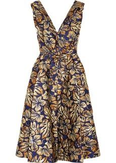 Prada Floral-jacquard Midi Dress