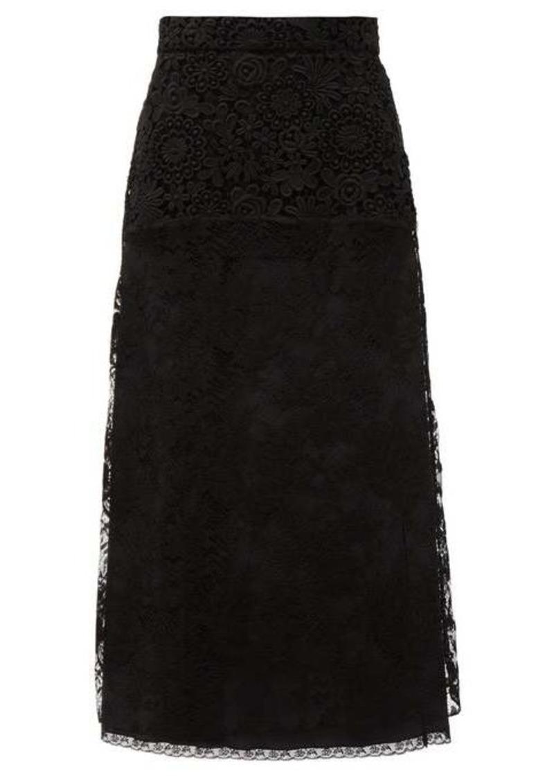 Prada Floral lace and silk midi skirt