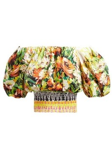 Prada Floral-print cotton-poplin crop top