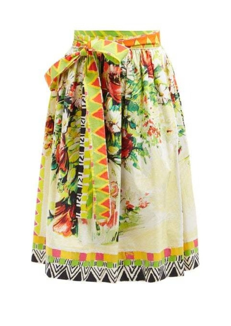 Prada Floral-print cotton-poplin midi skirt