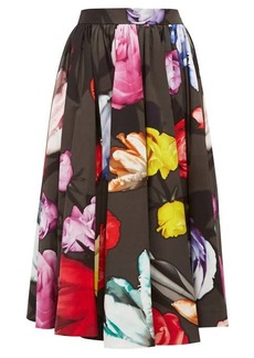 Prada Floral-print cotton-poplin skirt