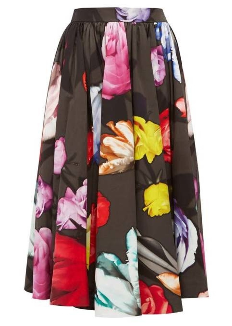 Prada Floral-print cotton-poplin skirt