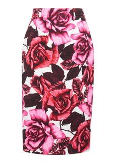 Prada Floral-Print Crepe Skirt