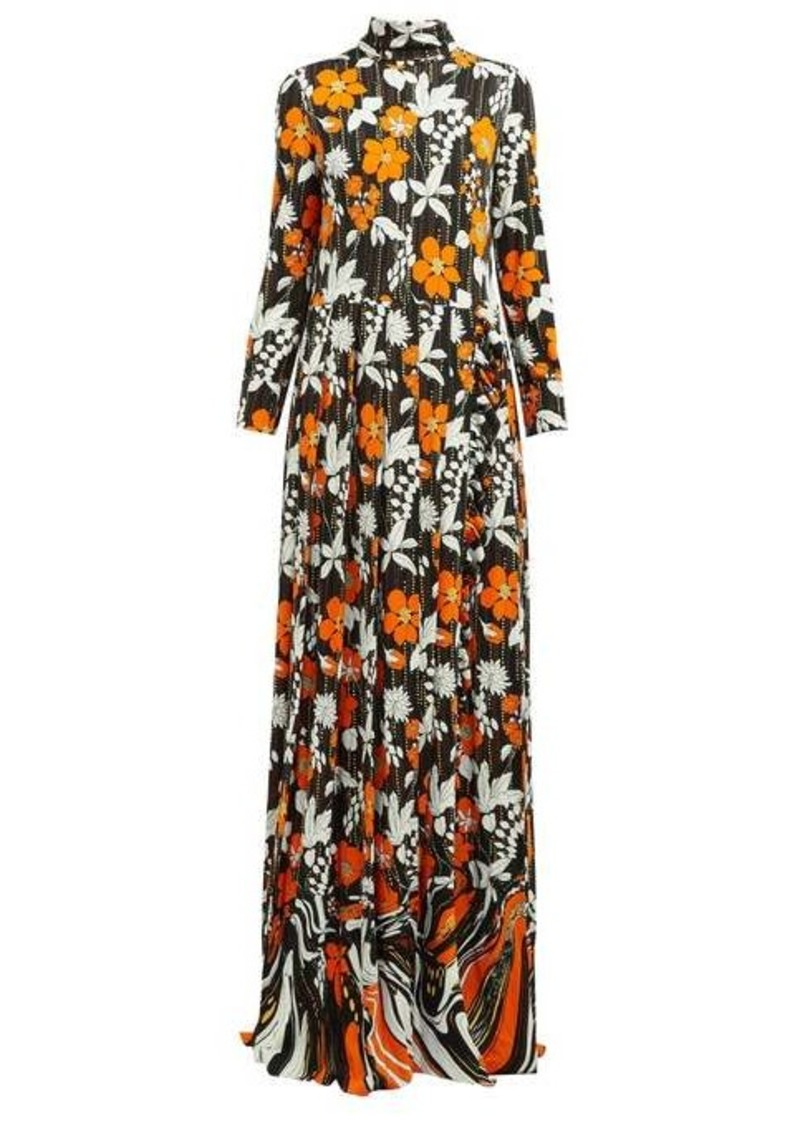 Prada Floral-print high-neck organza dress