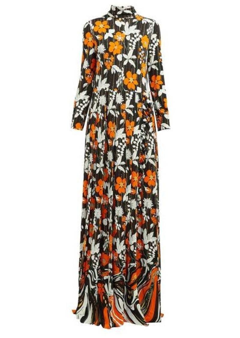 Prada Floral-print high-neck organza dress