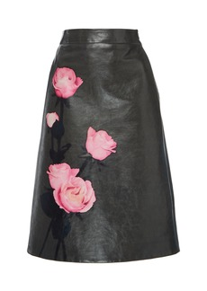 Prada Floral-Print Leather Skirt