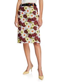 Prada Floral Print Pencil Skirt