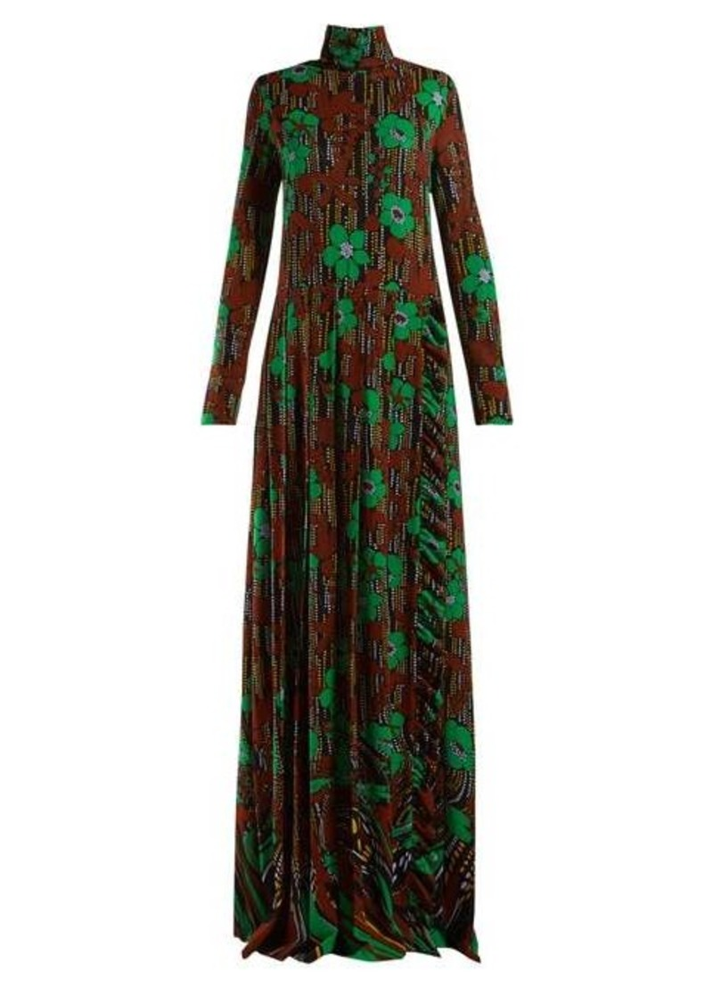 Prada Floral-print roll-neck gown
