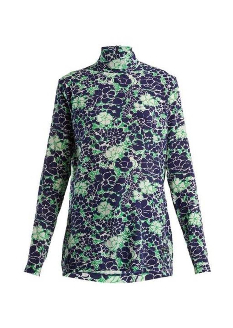 Prada Floral-print silk-blend top