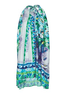 Prada Floral-Print Silk-Satin Twill Halter Mini Dress