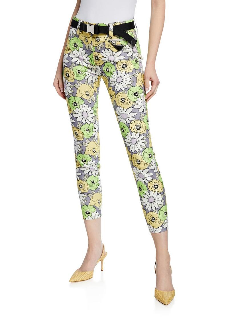 Prada Floral Print Skinny-Leg Pants