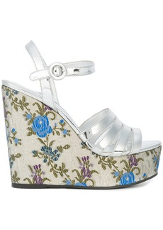 Prada floral print wedge sandals - Metallic