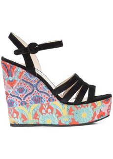 Prada floral print wedges - Multicolour