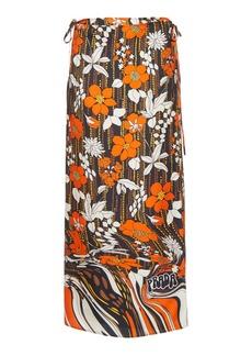 Prada Floral Silk Midi Skirt