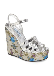 Prada Floral Wedge Platform Sandals (Women)