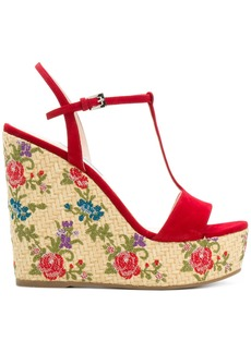 Prada floral woven wedge sandals - Red