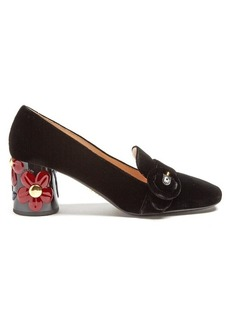 Prada Flower-embossed heel velvet pumps