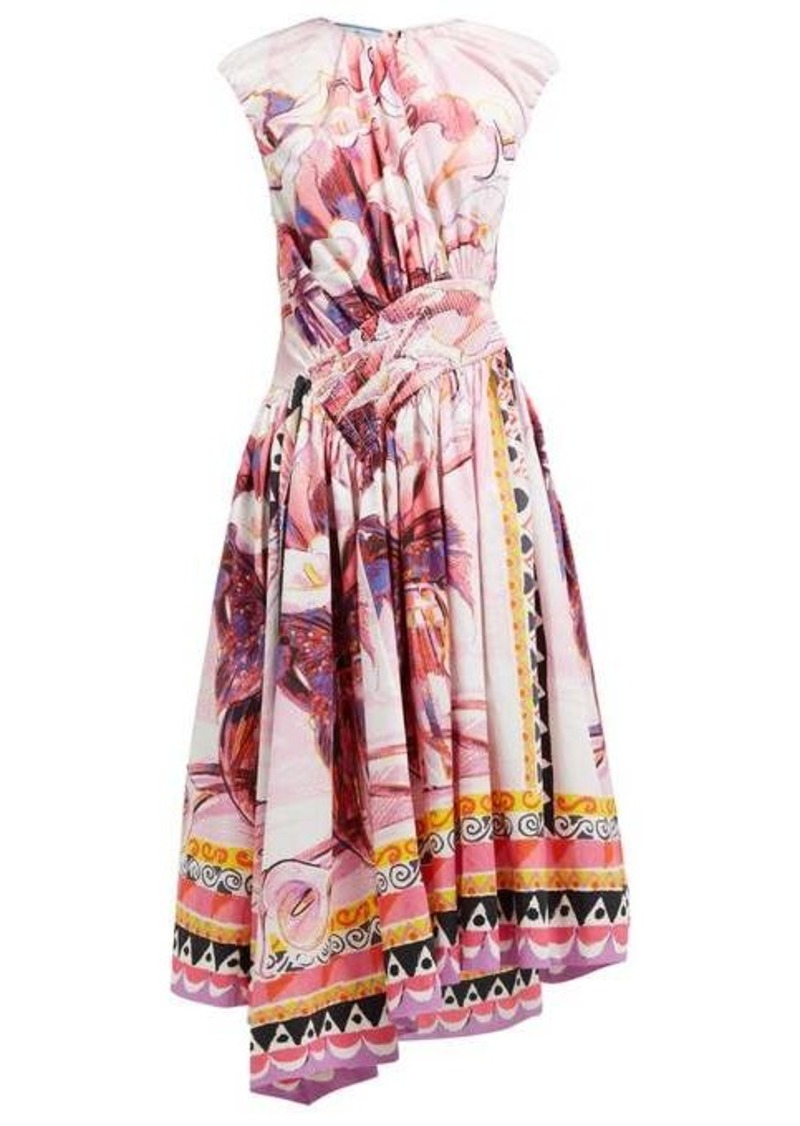 Prada Flowerpot-print cotton midi dress