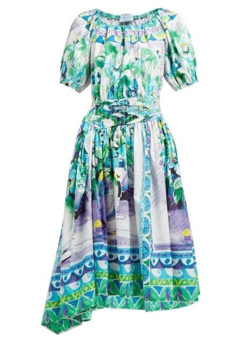 Prada Flowerpot-print cotton midi dress