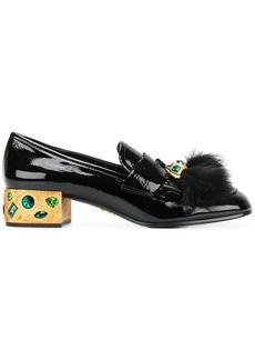 Prada fluffy tassel embellished loafers - Black