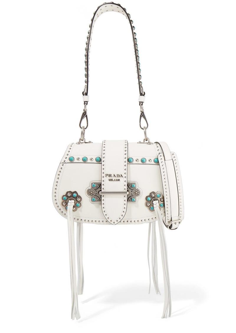 b2385ac12645 Prada Folk tasseled embellished leather shoulder bag | Handbags