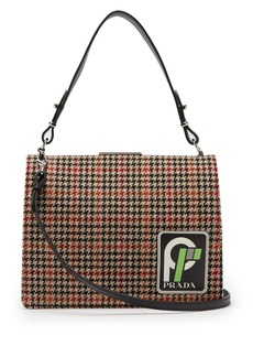 Prada Frame logo-patch houndstooth bag