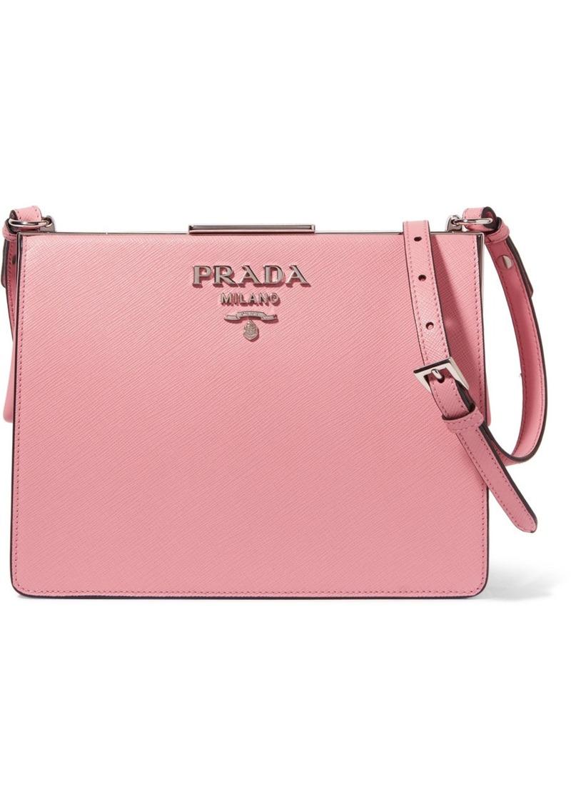b083fcd2a9cc Prada Frame Textured-leather Shoulder Bag Now $1,182.00