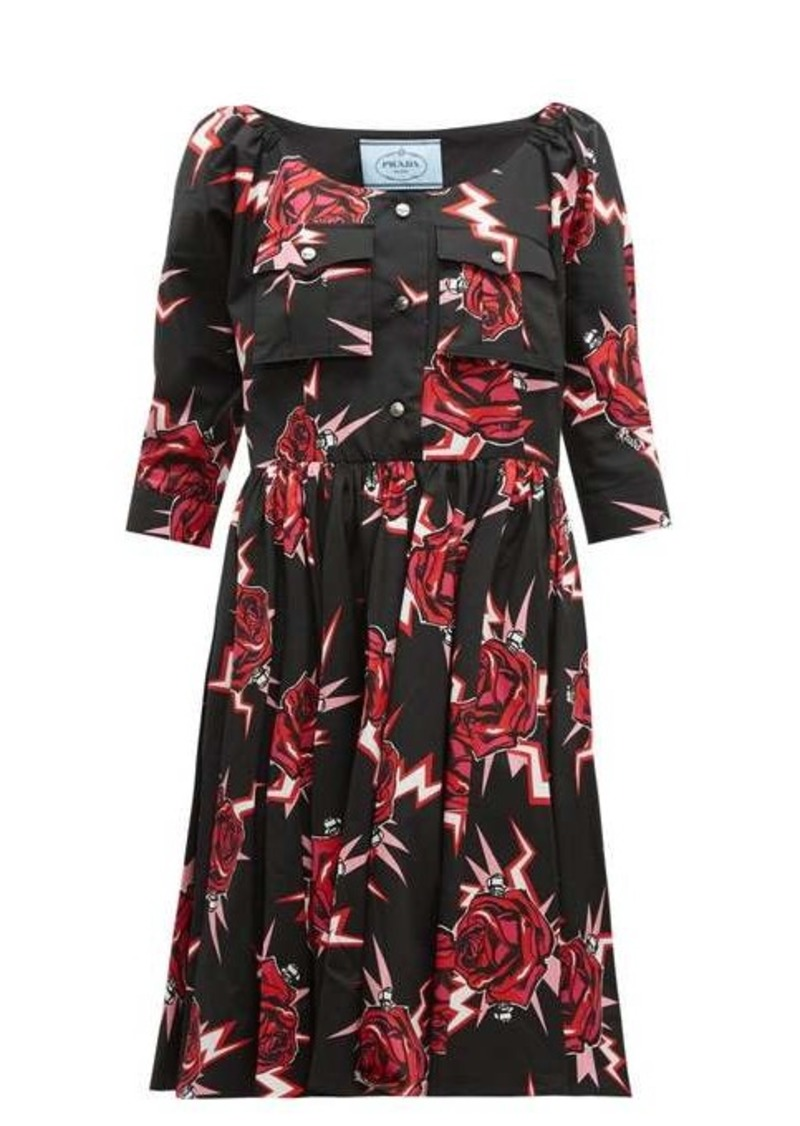 Prada Frankenstein-print cotton knee-length dress