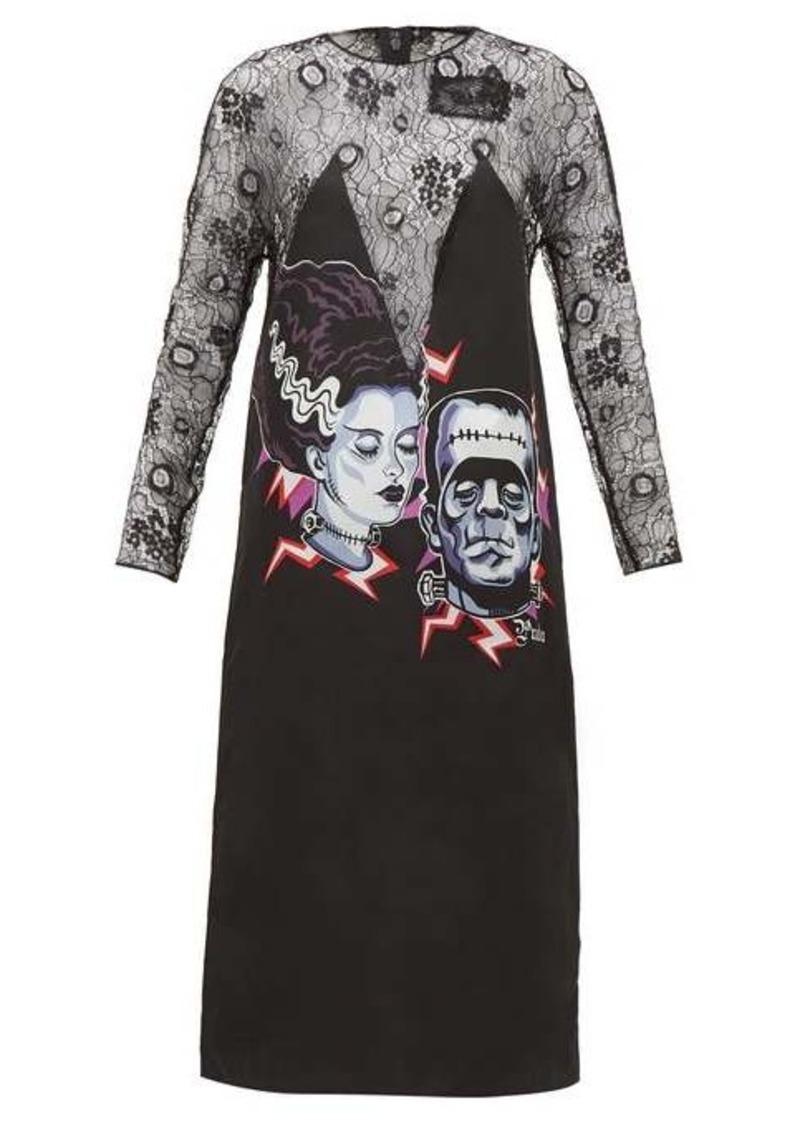 Prada Frankenstein-print lace dress