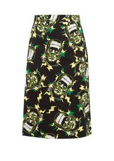 Prada Frankenstein's Monster-print cotton pencil skirt