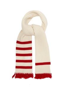 Prada Fringed wool-blend scarf