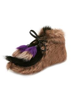 Prada Fur Tassel Self-Tie Boot