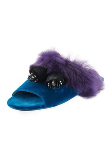 Prada Fur Tassel Slide Sandal