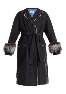 Prada Fur-trimmed tie-waist faille wrap coat