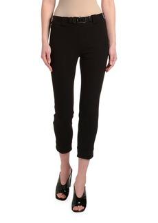 Prada Gabardine Skinny Tech Pants w/ Seatbelt Waist