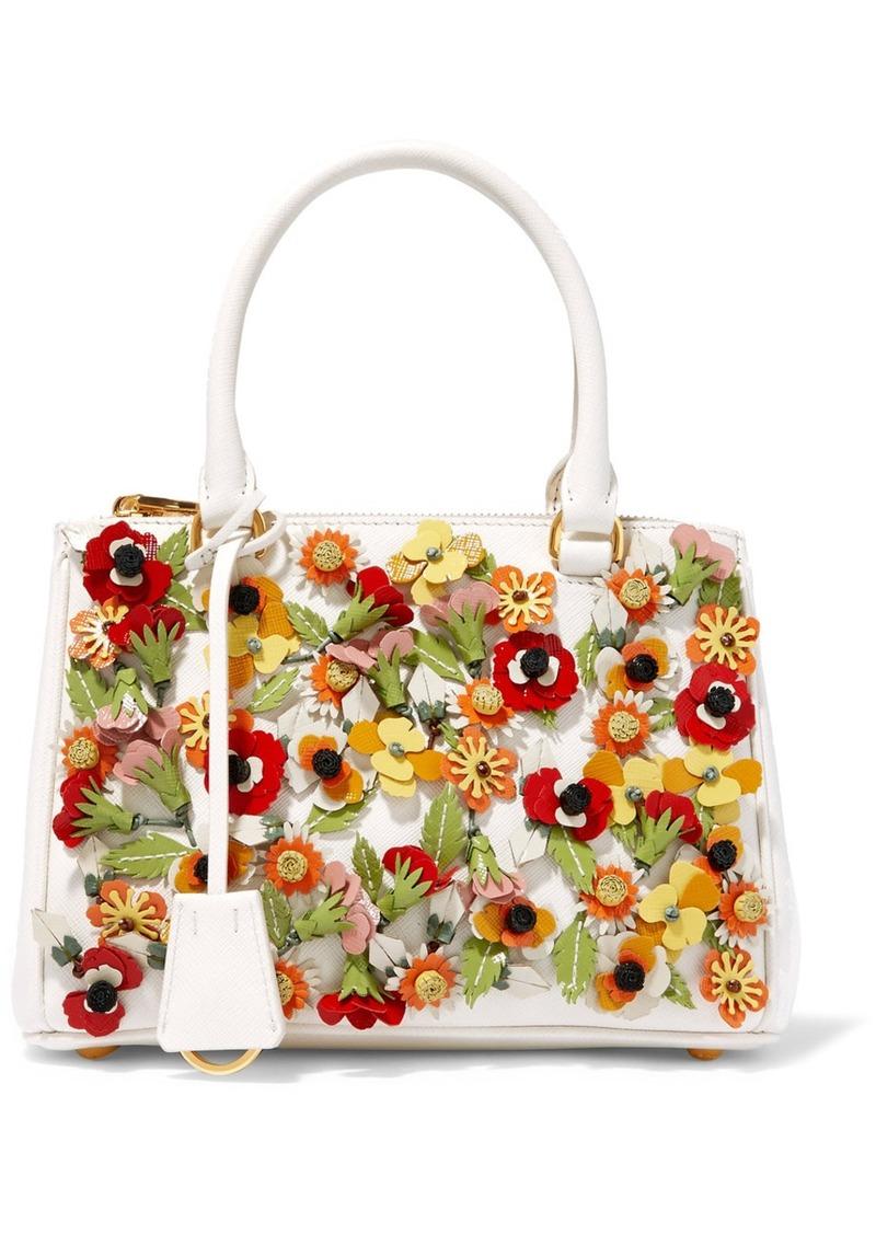 09477a966a19 Prada Prada Galleria Garden mini appliquéd textured-leather tote ...